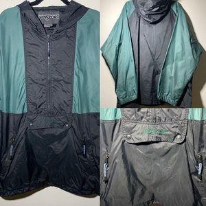 JANSPORT Mens Large Green Black Rain Coat